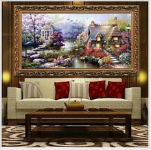 DIY Handmade Needlework Cross Stitch Set Embroidery Kit Printed Garden Cottage Design Stitching 64 * 37cm Decoration CO13669722(China)