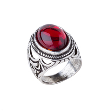 Fashion Vintage Punk Style Old Silver Red Men Rings(China)