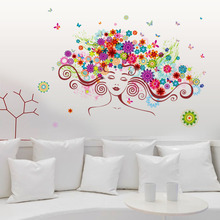 Buy Fundecor Colorful flower fairy children wall stickers kids rooms nursery girls bedroom cartoon decal vinyl home decoration for $5.12 in AliExpress store