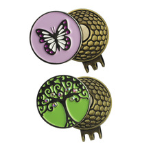 Lovely Butterfly and Big Tree Golf Ball Markers with 2 Unique Magnetic Golf Hat Clips