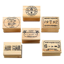 Kiwarm 6pcs Retro Vintage DIY Cute Wooden Rubber Stamp Set for Diary Scrapbooking Decoration Craft for Children Gifts 6 Pattens(China)