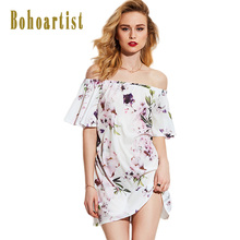 Bohoartist Apparel Summer Dresses Floral Print Slash Neck Off Shoulder Elastic Neckline Half Sleeve A-Line Tube Beach Dress