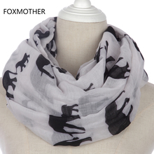 FOXMOTHER New Fashion White Grey Navy Elephant Aniaml Infinity Scarf Loop For Womens(China)