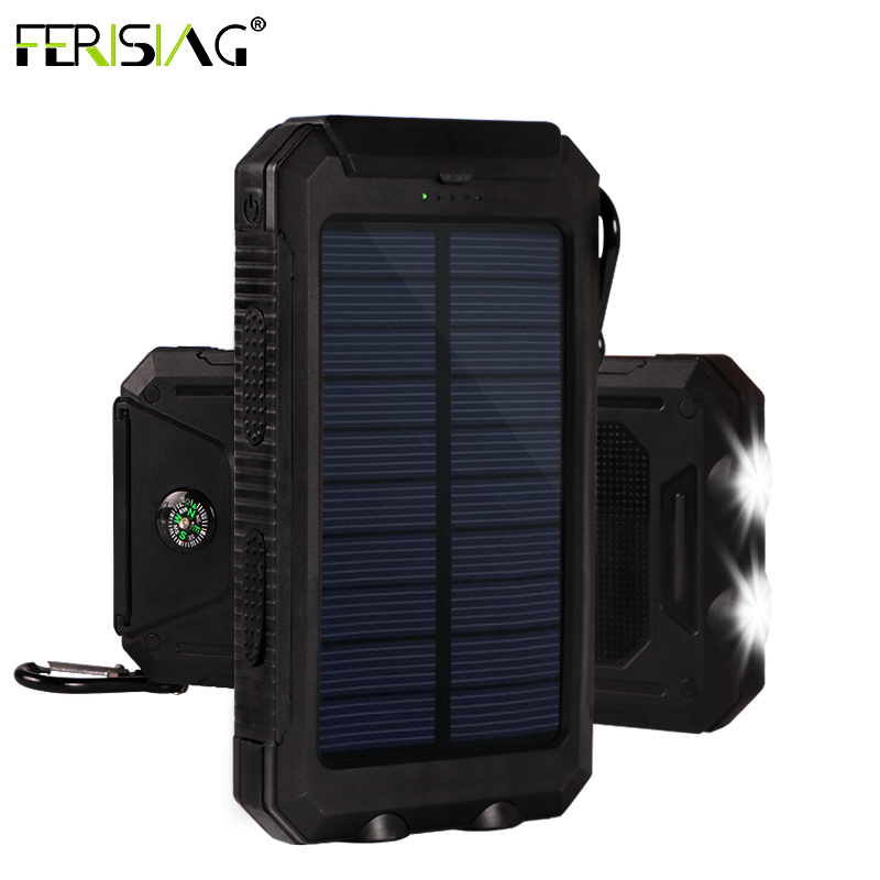 Solar Power Bank 10000mAh Waterproof Bateria Exter...