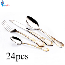 24pcs gold plated cutlery set dinner knives fork spoon set stainless steel flatware dinnerware tableware silverware dinner set