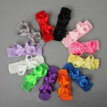 12pcs Elastic Hairtie Accessaries Classic Solid Crochet Headband 3.5 inch Girls Boutique Bow Hairpins Hair Ornaments(China)