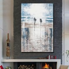 2016 Real New Wall Art Handmade Paintings Abstract Painting On The Canvas Beach Men And Women Of Sitting Room Is Free Shipping