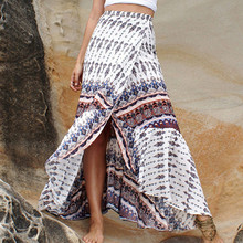 Summer Style Long Skirt 2016 Europe Hot Sale Women Bohemian Beach Maxi Skirt Sexy Split Adjustable Bandage Waist Printed Skirt