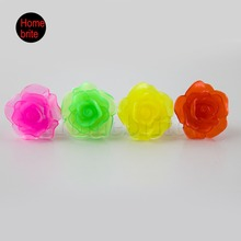 Flower Flashing Party Finger Rings Sparkling Rose Light UP Event Wedding Supplies Set Of 4  PT030