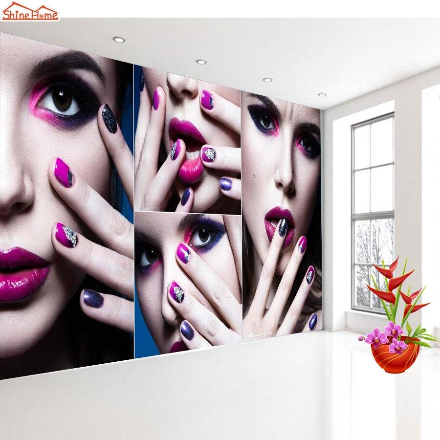 ShineHome-Modern Beauty SPA Nail Salon Massage WallPaper Rolls for Living Room 3d Wallpapers for 3 d Wall Roll Murals Rolls Art<br>
