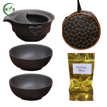 S/5 Zi Sha Teapot Cup 1 Beautiful Bag+1 Teapot+2 Cups+10g Oolong Tea Ceramic Portable Travel Tea Cup Puer Tea
