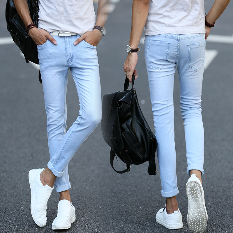 2017 New Arrival Spring Casual Men Pants  Outsider Leisure jeans Solid Blue  Men Joggers Slim Fit  denim overalls men A004Одежда и ак�е��уары<br><br><br>Aliexpress