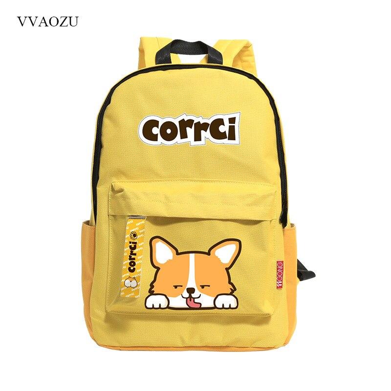 Children Cute Corgi Puppy Print Backpack School Bags Backpacks Rucksack for Teenagers Oxford Travel Bag Bookbag Mochila Escolar<br>