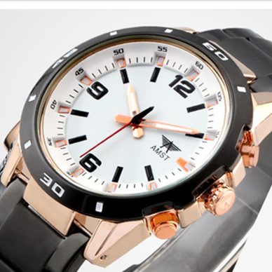 2018 AMST Brand Quartz Watch for men fashion business alloy sports watches black stainless steel waterproof clock 3011<br>