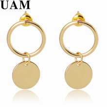New Arrival Fashion Round Element Simple Geometry Gold Color Linked Earrings Hollow Circle Drop Earrings Party Gift Brinco
