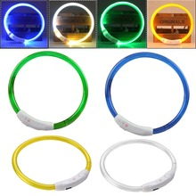 USB Charging Pet Dog Collars Rechargeable LED Tube Night Flashing Waterproof Luminous Light Band Outdoor Novelty Light 3 Modes(China)