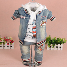 Baby Boy Demin Clothes Sets Baby Clothing 3PCS Fashion High Qulity Hooded Set For Boy Outfit Toddler Infant Suit 0 2 3 Years(China)