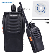 6pcs Baofeng BF-888S Dual Band Two Way Walkie Talkie 5W Handheld Pofung bf 888s Two Way Radio 400-470MHz UHF Radio Scanner+cable