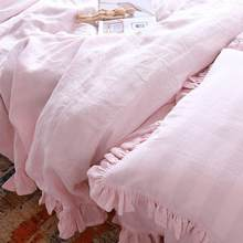 Set of 3 Shabby chic Pre washed 100% Natural Linen bedding duvet cover comforter ruffles with 2 matching pillowcases Pink(China)