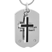 "IJD9733 Etching ""You're Always In My Heart "" Dog Tag Memorial Urn Jewelry With Cross Charm Stainless Steel Cremation Necklace(China)"