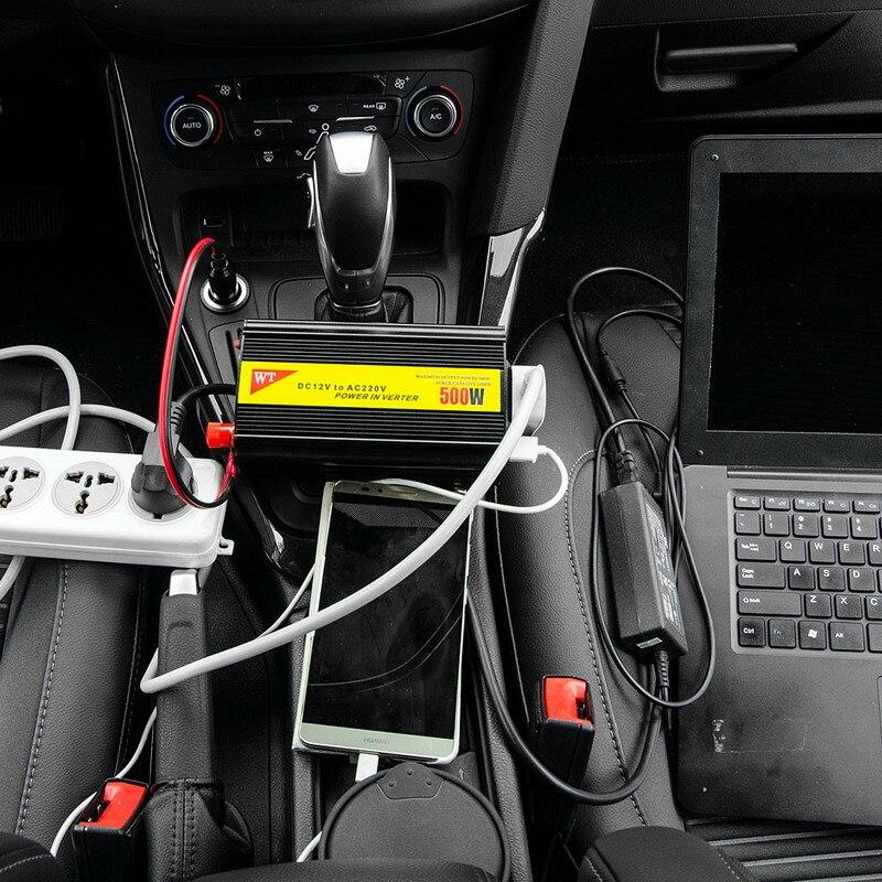1 PC 500W Outlets Power Inverter DC 12V to AC 220V Car Adapter Laptop Smartphone VEK04 T50<br>