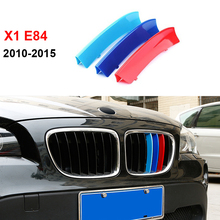 3D M Styling Front Grille Trim motorsport Strips grill Cover Decoration Stickers for 2010-2015 BMW X1 E84(China)