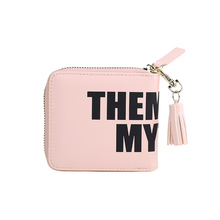 Yesello PU Leather English Alphabet Tassel Zippered Wallet Students Ladies Mini Lovely Small Wallet(China)