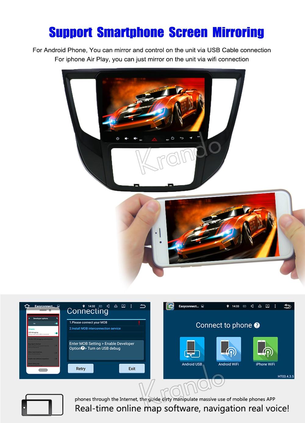 Krando Android car radio gps navigation multimedia system for Mitsubishi lancer 2017