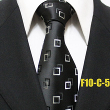 Lingyao 10cm Men Designer's Formal Tie Top Fashion Necktie Black wth White Square Plaids