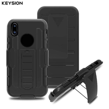 KEYSION Case for Apple iPhone X Soft Silicone + PC 3 In 1 Heavy Duty Military Armor Holster Stand Shock Proof cover for iPhone10