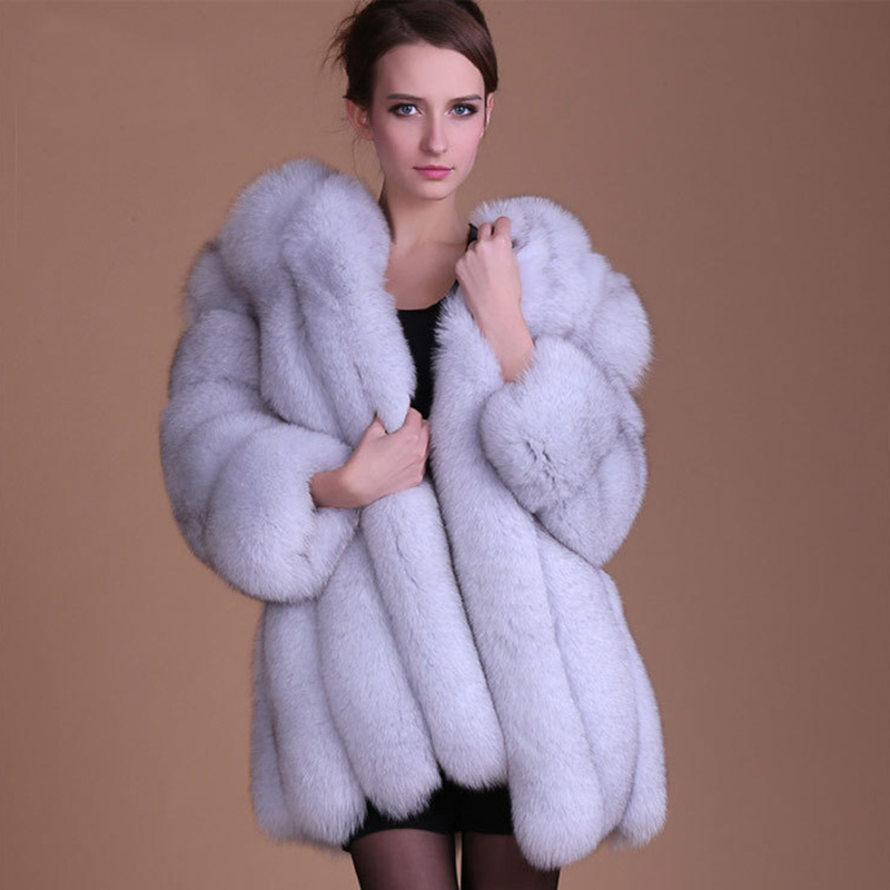 OKXGNZ XS-4XL Winter Luxury Faux Fox Fur Coat Slim Long Pink Red Blue Faux Fur Jacket Women Fake Fur Coats Manteau Fourrure