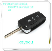 Replacement Folding Flip Remote Key Shell Case Fob 3 Button for Kia Picanto Ceed Pro Sportage Rio With Logo