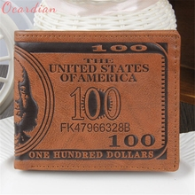 OCARDIAN 2017 New Arrival US Dollar Bill Wallet Brown PU Leather Wallet Bifold Credit Card Photo Oct10(China)
