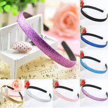 New 1PC Women Fashion Popular Candy Solid Color Hair Hoop Shiny Frosted Granule Plastic Hairbands