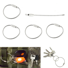 5Pcs EDC keychain tag rope Stainless steel wire cable loop outdoor screw lock gadget ring key keyring circle camp luggage(China)