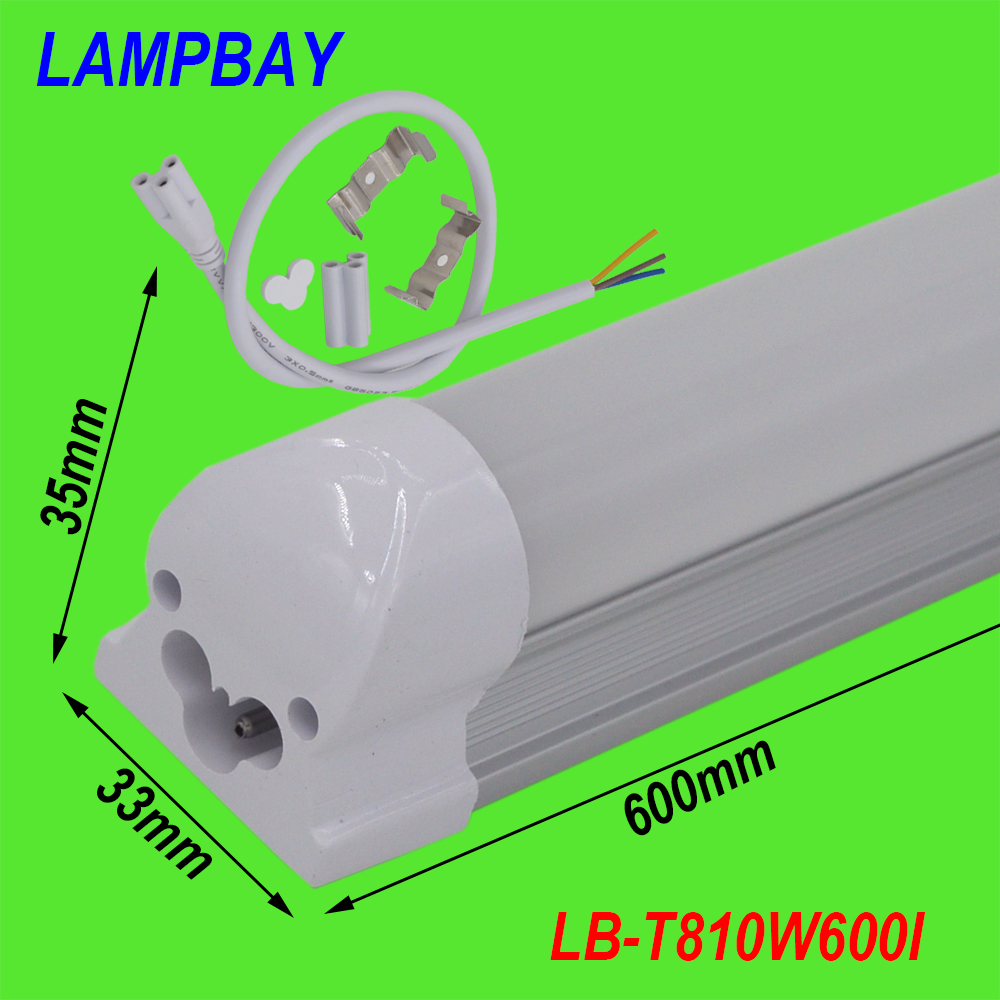 (10 Pack) Free Shipping T8 integrated 2ft(60cm) 10W led bulb with accessory surface mounted lamp to lamp connect 85-277V<br><br>Aliexpress