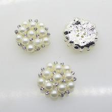 Hot 10pcs/set Silver 22mm Round  Rhinestones Buttons Pearl button wedding decoration Diy Buckles  Diamante Cryustal