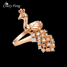 2017 Fashion Jewelry Animal Peacock Ring Rose Gold/Silver Color Crystal Party Rhinestone Rings For Women Finger Rings Female(China)