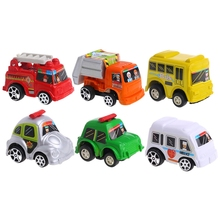 6Pcs Car Toys Car Baby Mini Cars Cartoon Pull Back Bus Truck Children Boy Gifts(China)