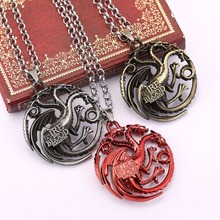 ZIDOM Hit TV drama Game of Thrones A Song of Ice and Fire House Targaryen dragon solid Design pendant necklace for You Tune(China)