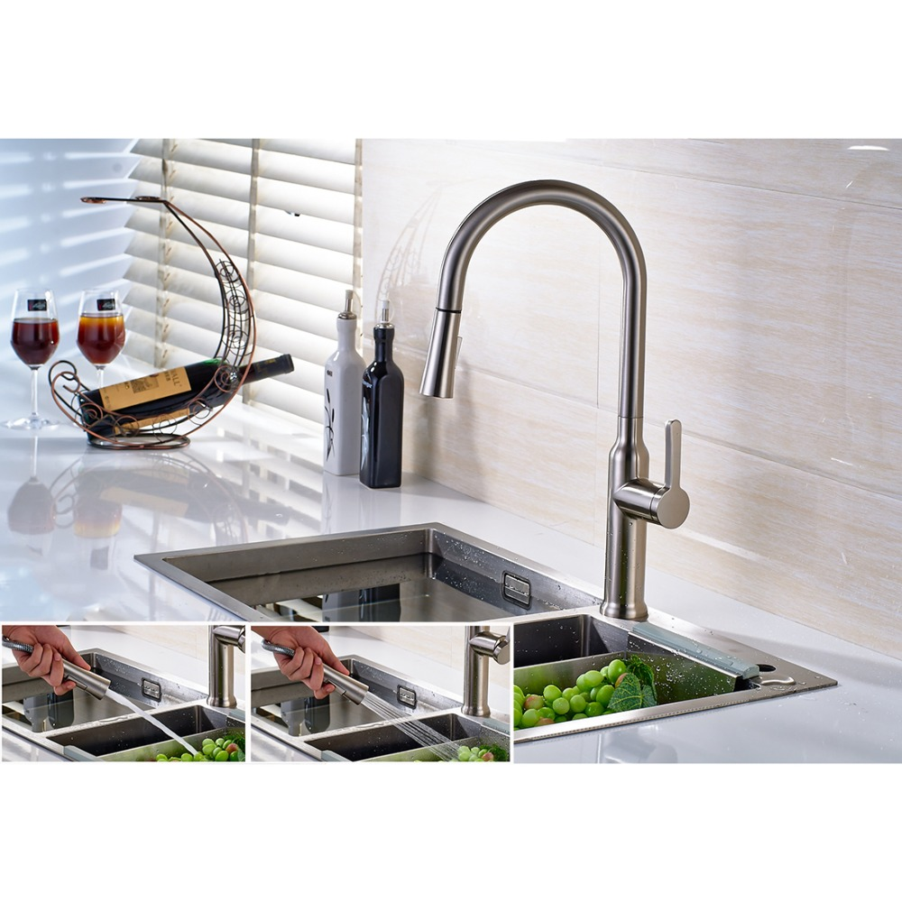 FLG Spring Style Kitchen Faucet Polished Nickel Finish All Around Rotate Swivel 2-Function Water Outlet Kitchen Sink Mixer C046N<br><br>Aliexpress