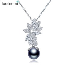 LUOTEEMI New Statement Het Selling Single Round Gray Imitation Pearl with CZ Flower Pendant Necklace for Women Christmas Gift(China)