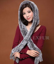 Glamarous Womens Real Knitted Rex Rabbit Fur Scarves with Hoody Wrap Casual Lady Fur Hat Shawl Long Earmuffs LX00296