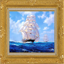New Hot Sale Made Hand Diamond Painting DIY Blue Sea Sailboat full Square Drill Embroidery Living Room Decorations
