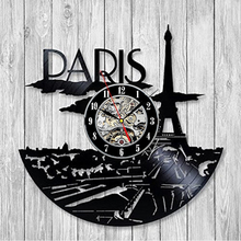 Free Shipping 1Piece France Paris Skyline Vinyl Music Record Wall Clock Unique Modern Art Room Hotel Decor 3D Hanging Watches