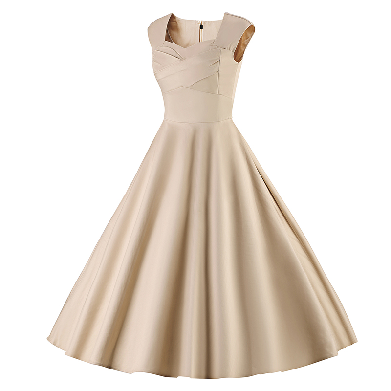 Kostlich 6 Color Retro Summer Dress Women 2017 Sleeveless Hepburn 50s Vintage Dress Elegant Big Swing Rockabilly Party Dresses (25)