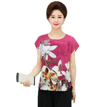 WAEOLSA Mother Summer Blouses Red Blue Flower Tunic Middle Aged Women O-neck Blouse Lady Cap Sleeved Shirts Vintage Top Clothing