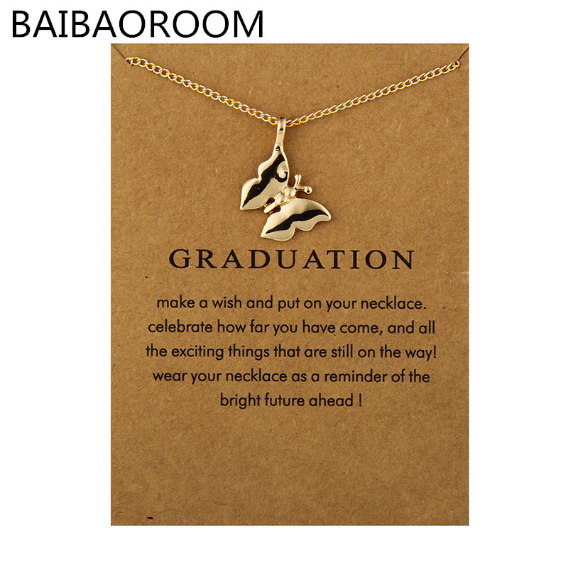 Fashion Jewelry Reminder Graduation Graceful Butterfly Chain Necklace For Women