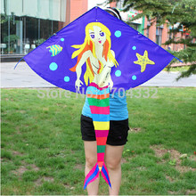 Free Shipping Outdoor Fun Sports Carton Kites/Mermaid Kite/Kid Kites /With Handle And String Good Flying