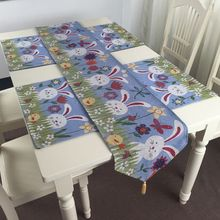 Easter Rabbit Style Table Cloth and Dinner Table Pad Placemat for Easter Decorations